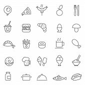 stock photo of continental food  - Set of Outline stroke Food icon Vector illustration - JPG