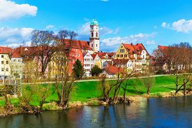 picture of bavaria  - Scenic spring view of old buildings at Danube river pier and street architecture in the Old Town of Regensburg - JPG