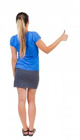 pic of up-skirt  - Back view of  woman thumbs up - JPG