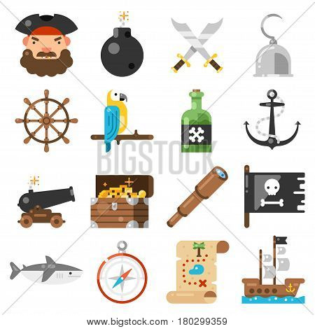 Pirates Icons Vector Set On White Background Standard Pirate