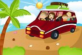 stock photo of family vacations  - A vector illustration of a family riding a van leaving for summer vacation - JPG