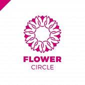 Flower Logo Circle Abstract Design Vector Template. Tulip Spa Icon. Cosmetics Hotel Garden Beauty Sa poster