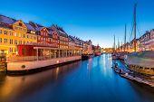 Copenhagen Nyhavn, New port of Copenhagen, sunset in Denmark poster