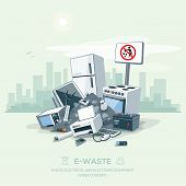 Littering Garbage E-waste Stack On The Street Road poster