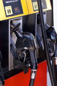 foto of fuel pump  - american gas station - JPG