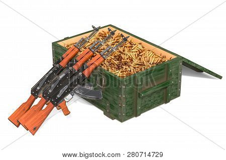 Assault Rifles With Military Wooden