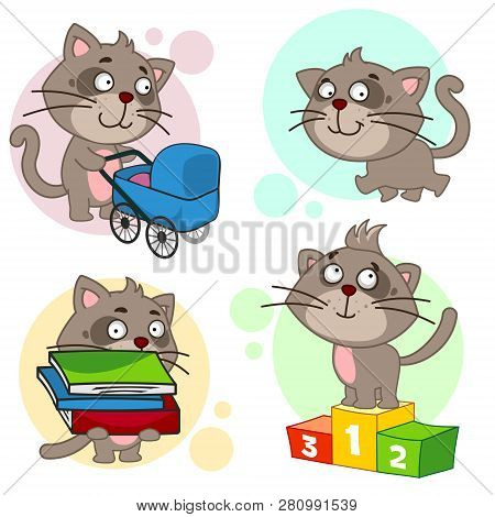 poster of Eighth Part Of A Collection Of Icons With Cats For Design. A Cat With A Baby Stroller, A Cat Is Walk