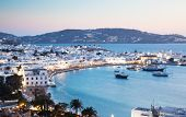 beautiful twilight over Mykonos town  Mykonos island,  Cyclades archipelago,  Greece poster