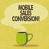 Conceptual Hand Writing Showing Mobile Sales Conversion. Business Photo Showcasing Any Desired Actio poster