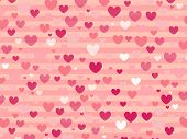 Cute Pink Gradient Color Heart Shape On Pastel Pink Background. Illustration Vector Art Pattern With poster