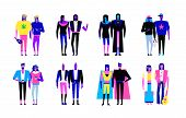 Colorful Flat Line Characters,subculture Music Genre Apparel Style Concept.flat People Outfit Styles poster