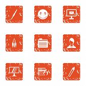 Firewall Icons Set. Grunge Set Of 9 Firewall Icons For Web Isolated On White Background poster