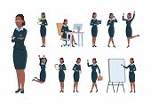 Business Woman Character. Afro-american Office Professional Worker Female In Different Poses Of Acti poster
