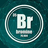 Bromine Chemical Element. Sign With Atomic Number And Atomic Weight. Chemical Element Of Periodic Ta poster