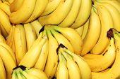 Ripe Fruit Bananas On Store Shelves.ripe Banana Background poster
