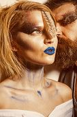 Paint Party. Woman And Man With Art Makeup For Paint Party. Couple In Love Styled For Paint Party. P poster