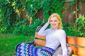 Time For Yourself. Woman Blonde Take Break Relaxing In Park. Girl Sit Bench Relaxing In Shadow, Gree poster