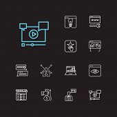 Search Icons Set. Seo Monitoring And Search Icons With Search Result, Video Marketing And Monitor Pe poster
