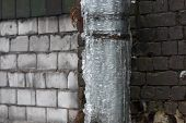 Drainpipe Covered With Ice And Icicles/copy Space, Dangerous Situation, Danger For Passers, сold Win poster