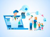 Illustration Family Consultation Doctor Online. Vector Image Man And Woman Holding Sick Children By  poster