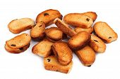 stock photo of ruddy-faced  - A few biscuits with raisins on a white background - JPG