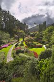Phenomenally beautiful landscape in well-known park Butchard garden in Canada poster