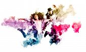 Beautiful young couple in dance studio. Sporty hip-hop dancers  poster