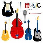 Vector Stringed Musical Instruments Icons Isolated On White Background. Illustration Of Guitar And D poster