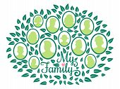 Genealogical Family Tree, My Family Green Foliage Vector Illustration Isolated On White Background.  poster