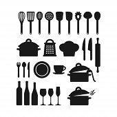 Kitchenware Utensils Pots And Tools Black Silhouette Icon Set. Kitchen Appliances, Cutlery, Silverwa poster
