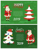 Happy Holidays Greeting Card On 2019 New Year. Vector Postcard Sample With Decorated Xmas Tree Toppe poster