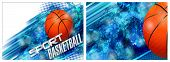 Horizontal Card For A Basketball Club With A Flying Basketball Ball On A Blue Background poster