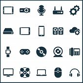 Device Icons Set With Hard Drive, Joystick, Router And Other Click Elements. Isolated Vector Illustr poster