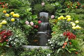 Magnificent cascade fountain in well-known Butchard - garden on island Vancouver poster
