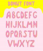 Donut Vector Alphabet Covered With Sweet Icing. Trendy Kids Alphabetical Doughnuts Font. Abc With Pi poster