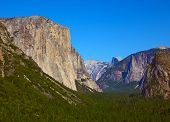 The well-known rocky monolith El-Captain shined by the morning sun. Yosemite, the USA poster