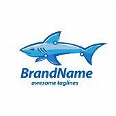 Creative Tech And Shark Logo Concept, Vector Shark Tech Logo Concept Illustration poster