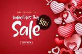 Valentines Day Sale Vector Banner Design. Valentines Day Sale Discount Text With Heart Shapes Elemen poster