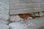 Foundation House Wall Damage From Wetness. Foundation Walls Without Waterproofing. Cracked Foundatio poster