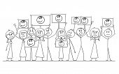 Cartoon Stick Figure Drawing Or Illustration Of Group Or Crowd Of Protesters Demonstrating With Port poster