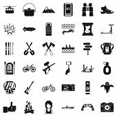 Camping Adventure Icons Set. Simple Style Of 36 Camping Adventure Icons For Web Isolated On White Ba poster