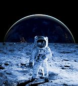Astronaut Walk On The Moon Wear Cosmosuit. Future Concept poster