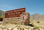 image of stagecoach  - Guadalupe Mountains National Park sign - JPG