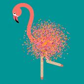 Modern Art Collage Flamingo With Ballerina Legs, Dots Brush Painting, Great Design For Any Purposes. poster