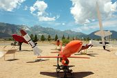 picture of missles  - White Sands Missile Range Museum outdoor missle and rocket display - JPG