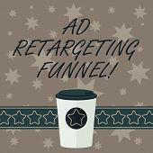 Writing Note Showing Ad Retargeting Funnel. Business Photo Showcasing Aiming Relevant Ads To Those H poster