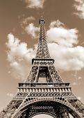 Eiffel Tower Also Called Tour Eiffel In French Language With Toned Vintage Sepia Effect poster