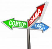 Three colorful arrow signs reading Comedy, Drama and Tragedy representing the contrasting types of s