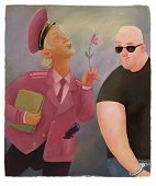 stock photo of gey  - policeman and gangster - JPG