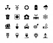 Alternative Energy Black Icons. Renewable Eco Nature Green Water Wind Solar Energy Saving Power Plan poster